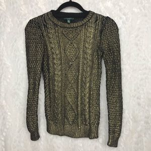 Lauren gold dipped crew cable knit sweater  PXS